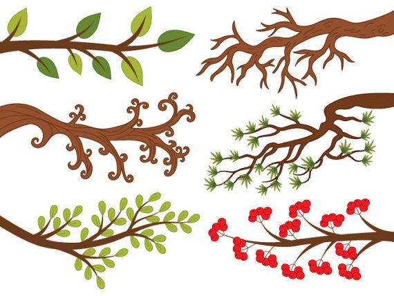 Clipart - Vector Digital rama, baya, hojas de ramas de árboles, ramas de  árbol Clip Art
