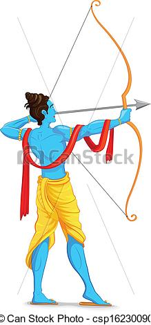 Lord Rama with Bow and Arrow - csp16230090