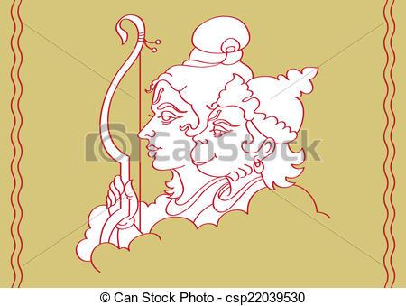 Lord Rama With Hanuman Ape (Monkey) God - csp22039530