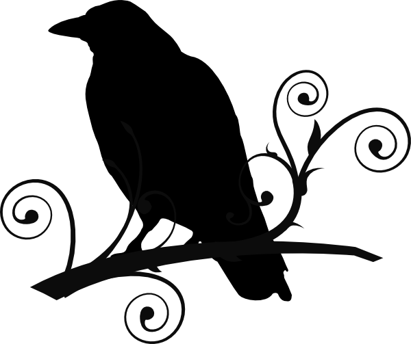 Raven Pictures Bird Silhouette | Crow On Branch clip art - vector clip art  online, royalty free .