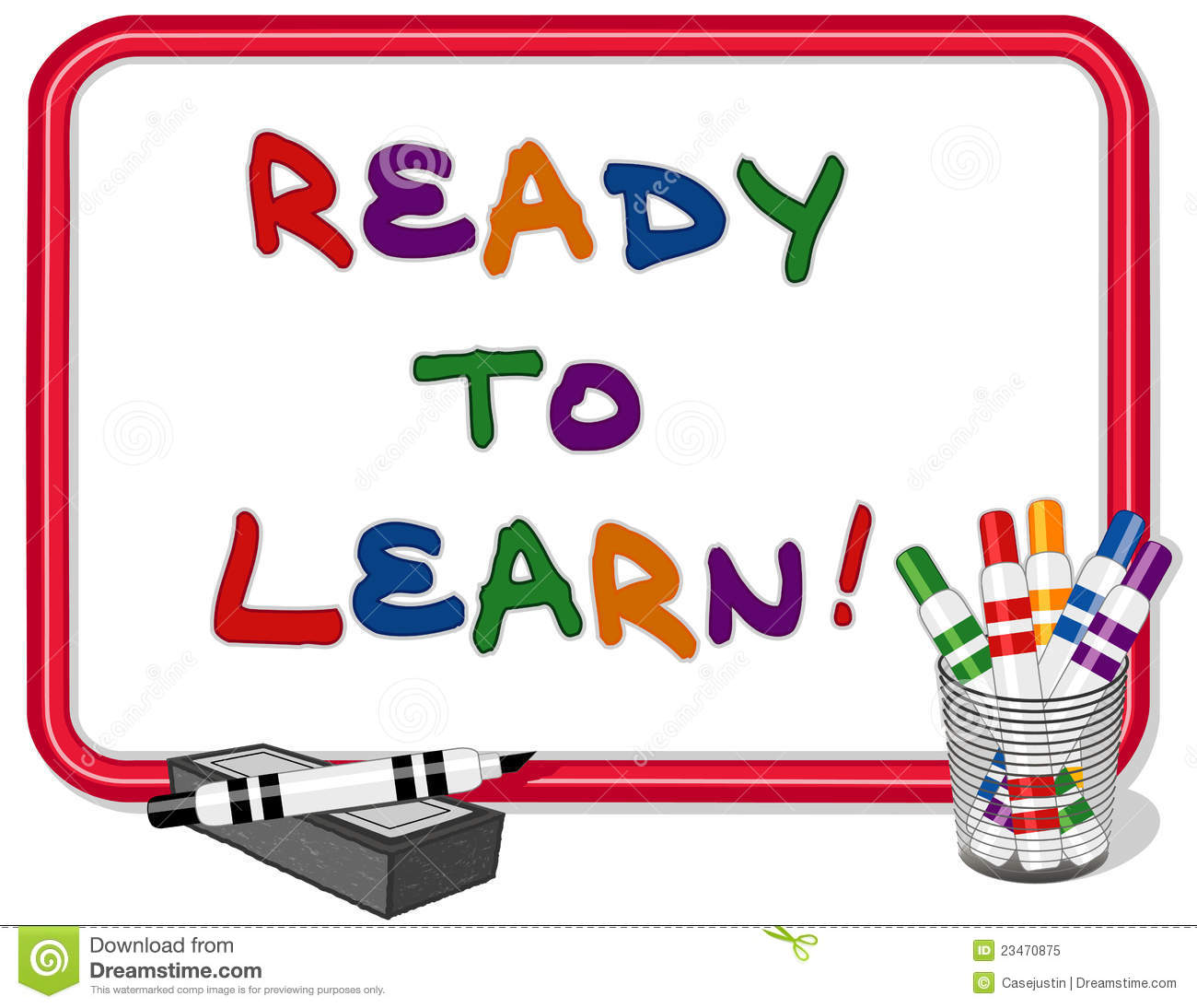 Ready To Learn Text On Red Frame Whiteboard With Multicolored Marker