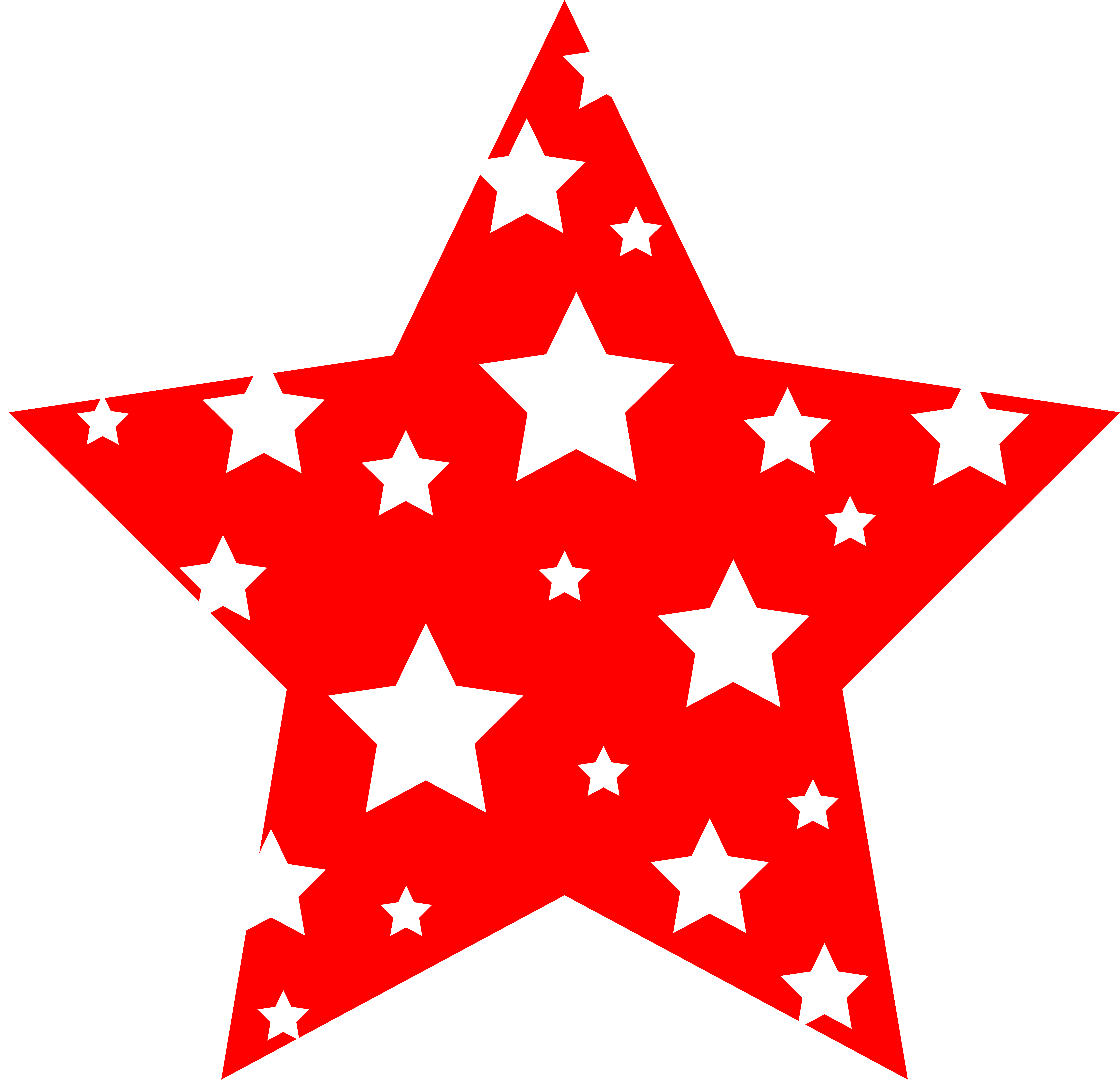 Red and White Starry Star - Free Clip Art