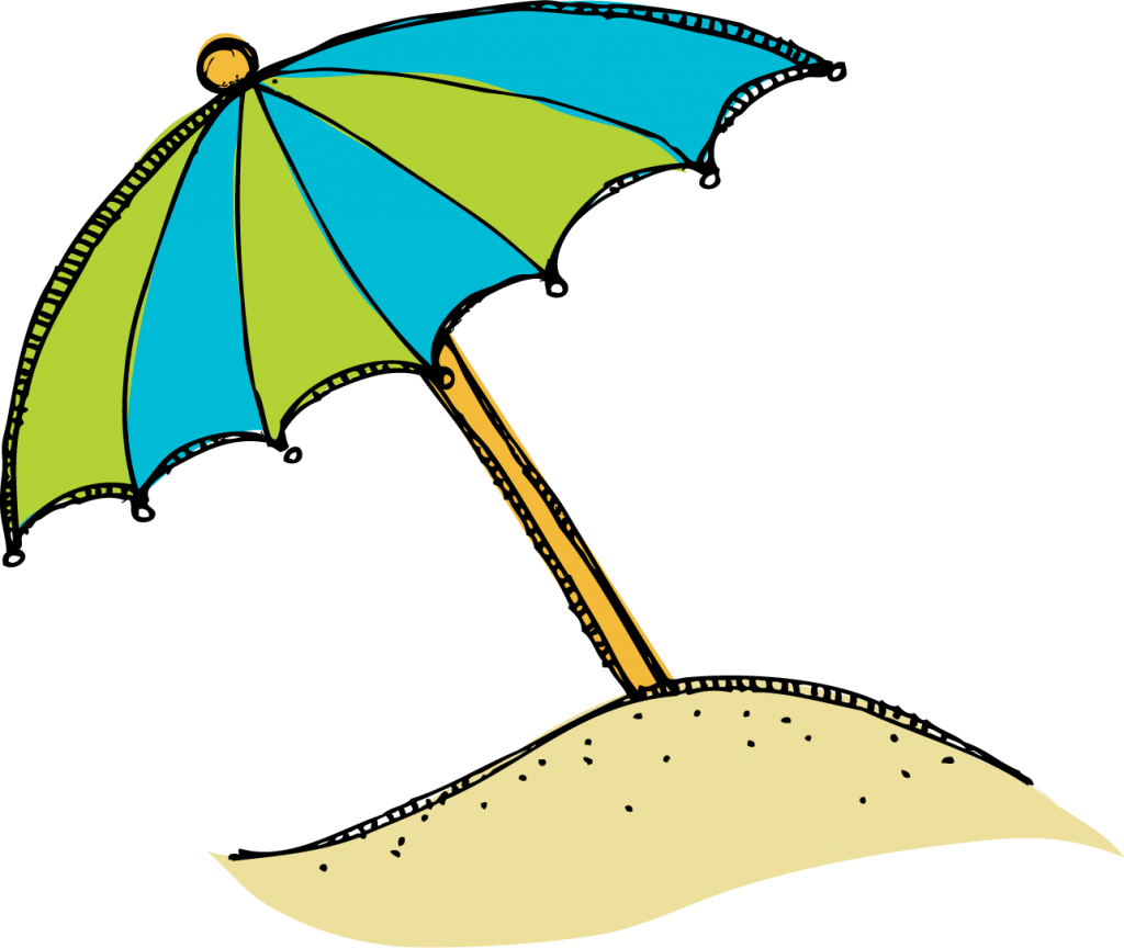 Red Beach Umbrella Clipart .