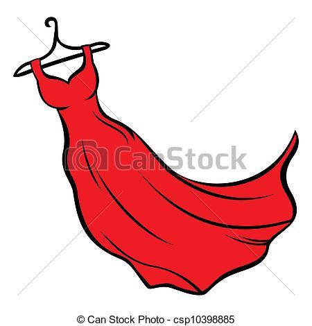 ... Red dress - Illustration of red dress hanging on coat hanger