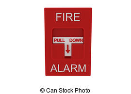 ... Red fire alarm on white background