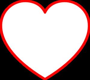 Red Heart Outline Clip Art ..