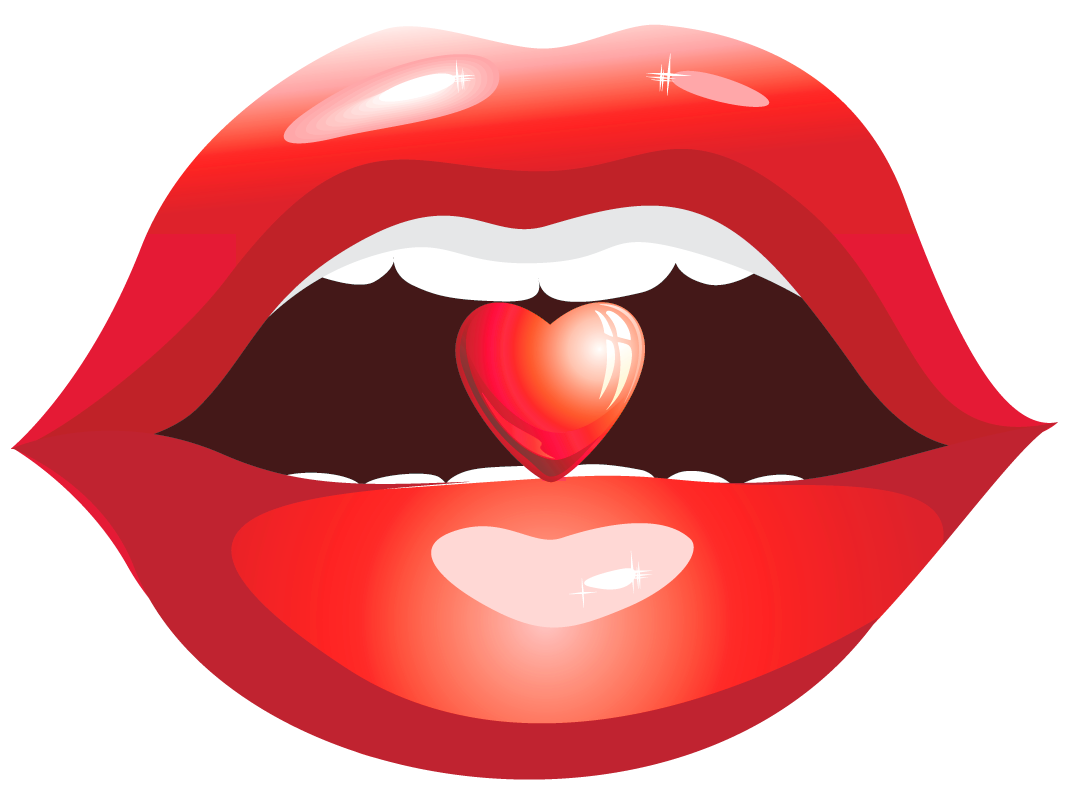Red Lips with Heart PNG Clipart Picture