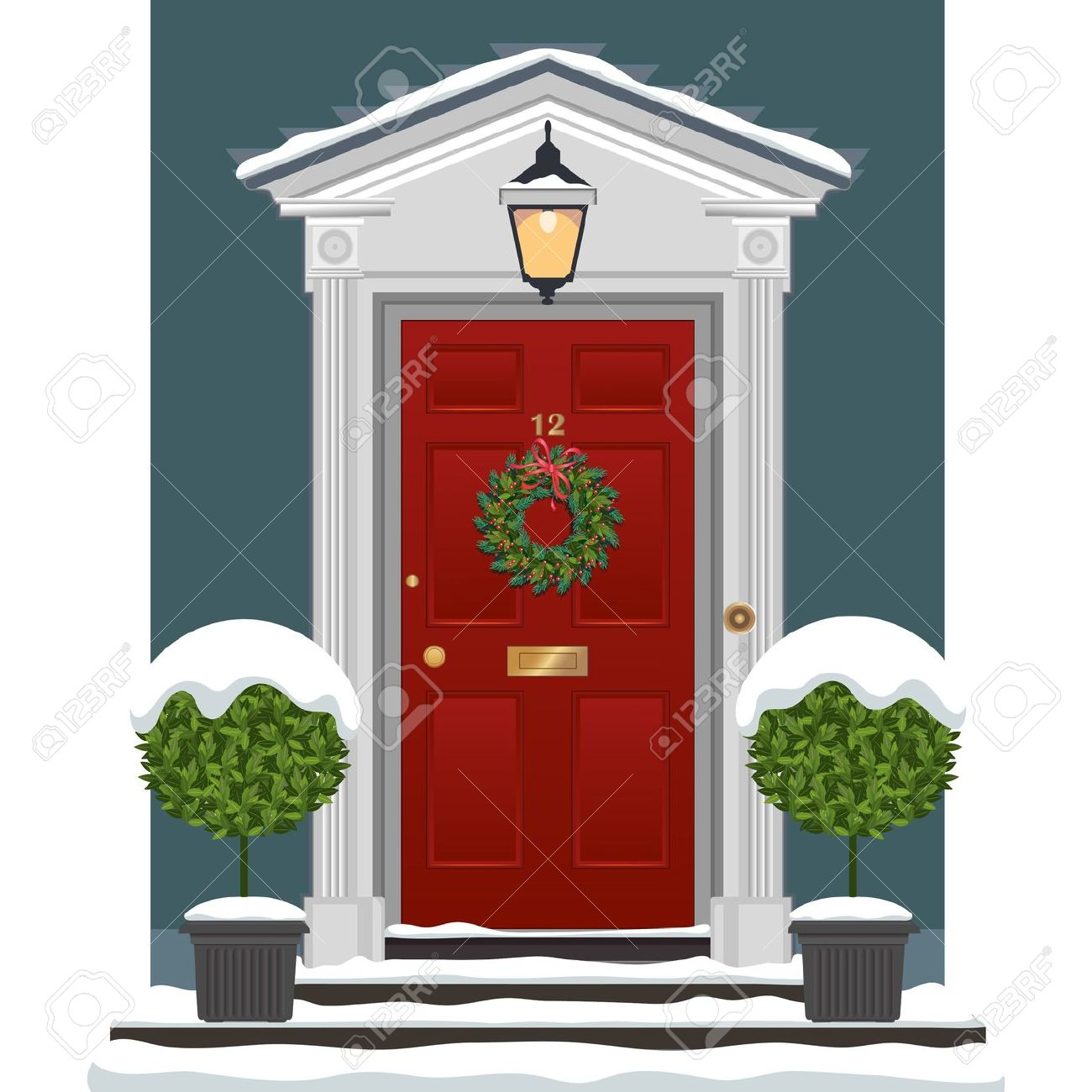Red painted front door with .