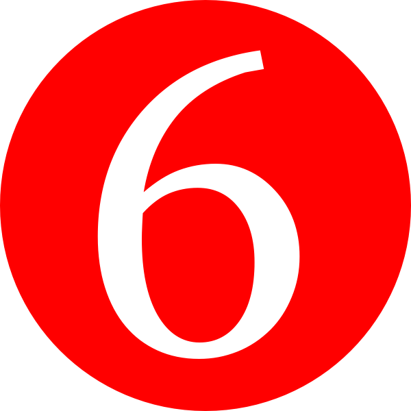 Red Roundedwith Number 6 Clip Art At Clker Com Vector Clip Art