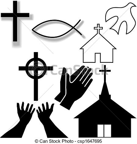 Church and Other Christian Symbol Icons Set - csp1647695
