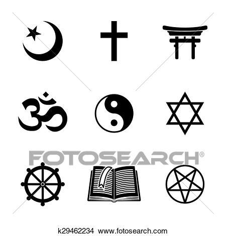Clipart - World religion symbols set with - christian, Jewish, Islam,  Buddhism,