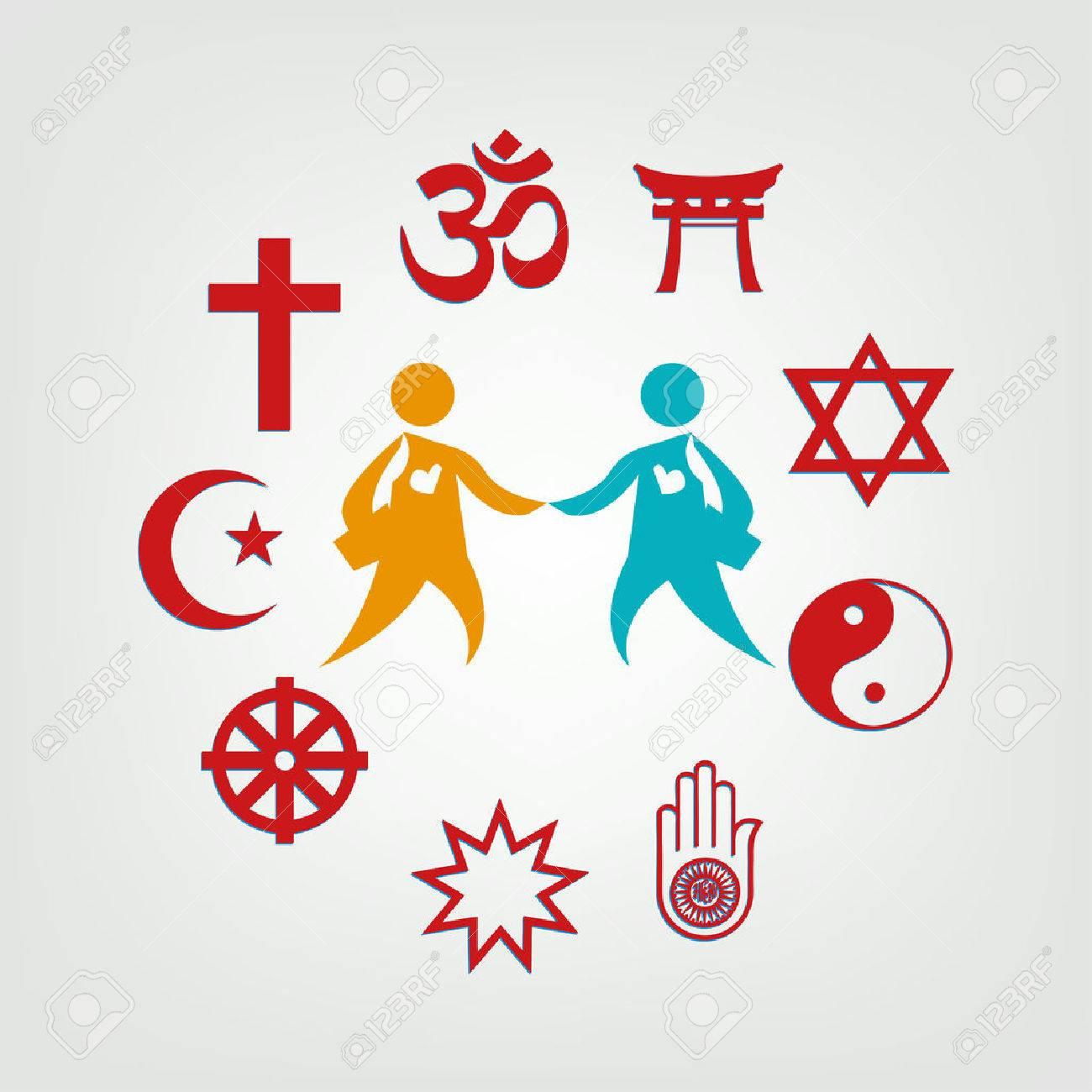 Interfaith Dialogue illustration. Editable Clip Art. Religious symbols  surrounding two persons. Stock Vector