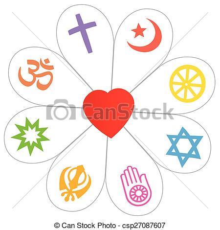 Religions Peace Flower Heart Symbol - csp27087607