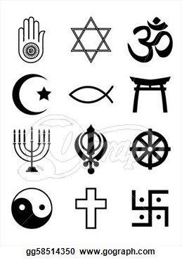 Religious symbols black u0026 white