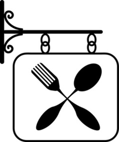 Restaurant Clipart Image Sign Featuring A Fork And Spoon