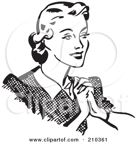 Retro Black And White Happy Woman Holding Her Hands To Her Chest by BestVector