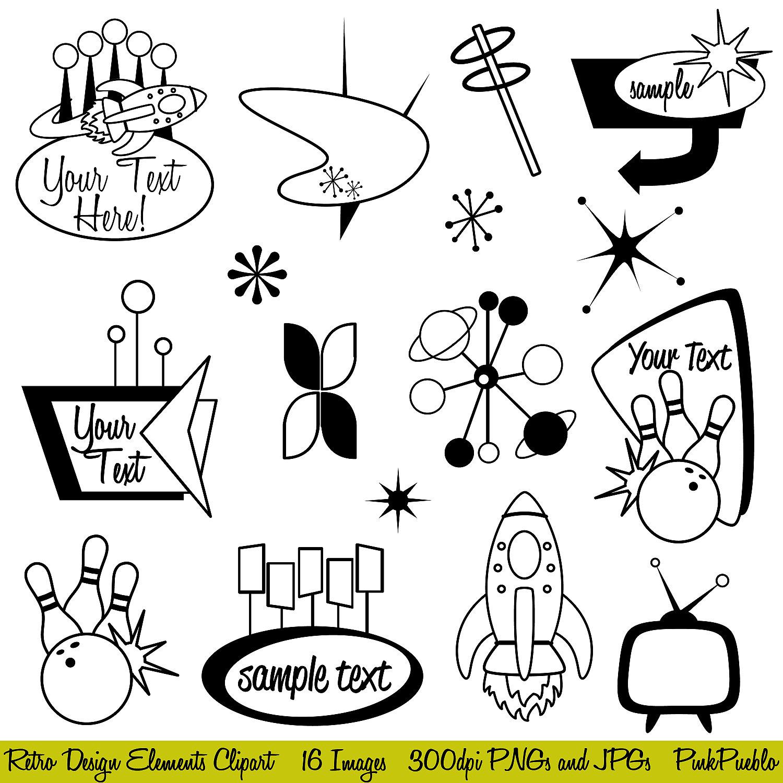 Retro Clipart Clip Art Mod Or Vintage Clipart Clip By Pinkpueblo