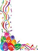 Retro Easter basket u0026middot; Colorful Easter Day Eggs in Confetti Border Illustration