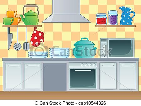 Retro kitchen Clipartby iatsun18/3,776; Kitchen theme image 1 - vector illustration.