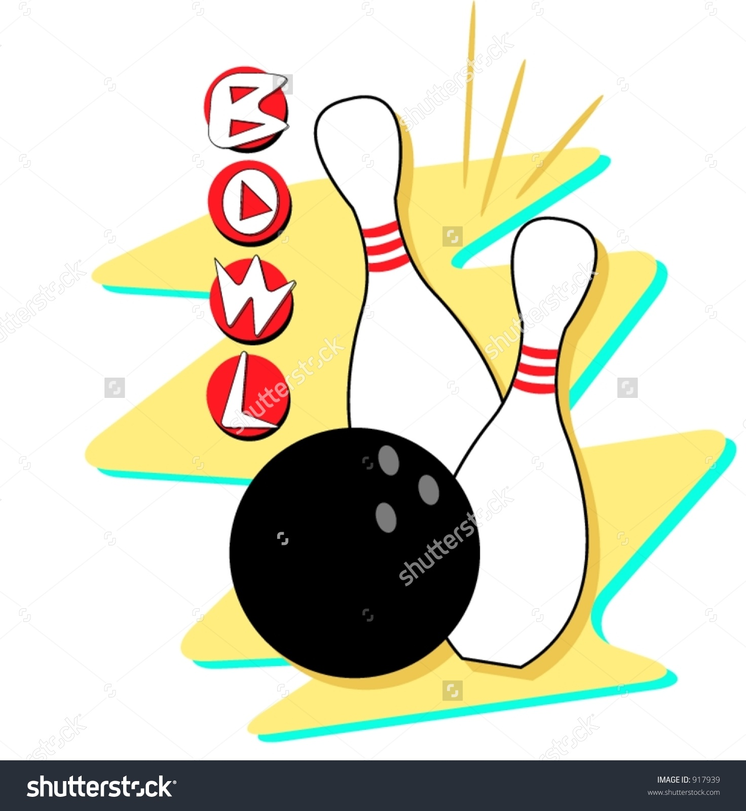Retro styled bowling clip art. Fully scalable and editable vector art.
