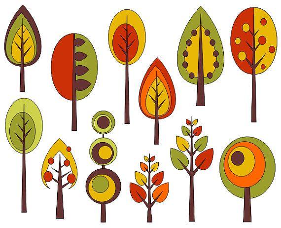 Retro Trees Clip Art Autumn Trees Digital Clip Art by YarkoDesign, $4.49