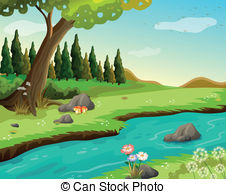 . hdclipartall.com A river at the forest - Illustration of a river at the.