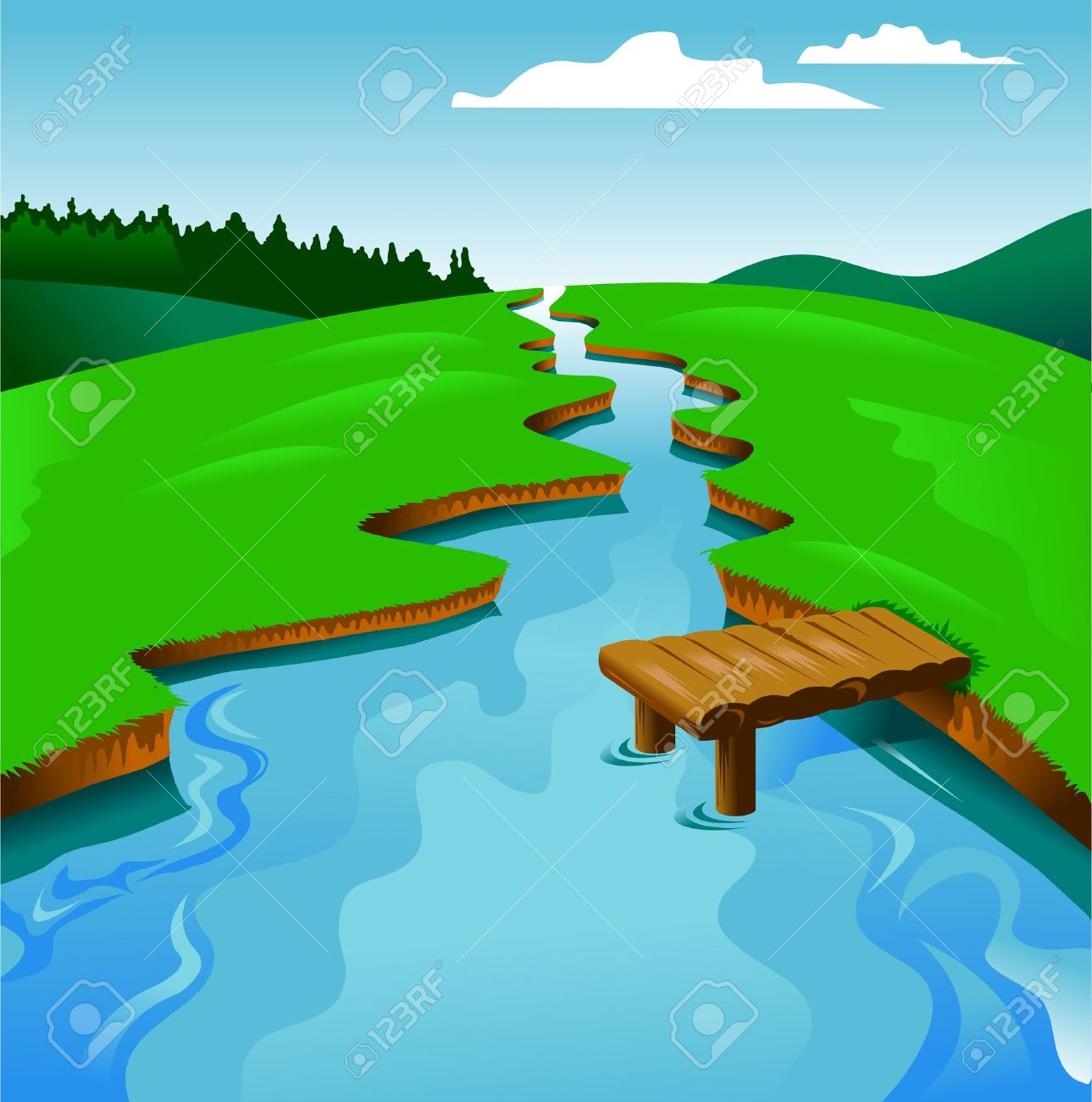 Blue River On A Background Of Green Landscape Vector And