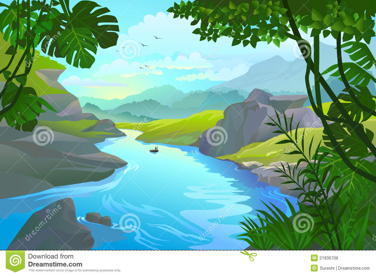 River Clipart Boat By A Mountain River