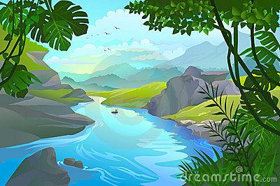 River Scene Clipart #1