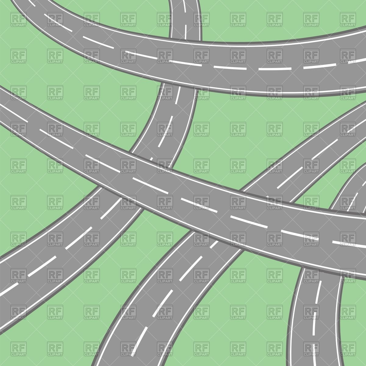 Crossed roads on green background Royalty Free Vector Clip Art