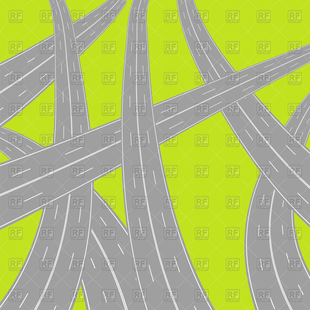 Crossed roads top view Royalty Free Vector Clip Art