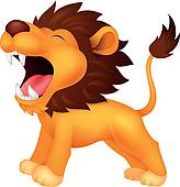Cute tiger cartoon roaring; Lion cartoon roaring