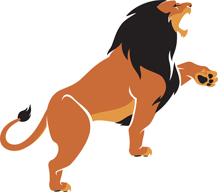 Lion Roar Clip Art, Vector Image Illustrations