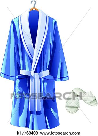 Clip Art - vector blue bathrobe and white slip. Fotosearch - Search Clipart,  Illustration