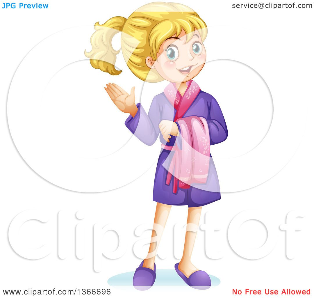 Clipart of a White Girl Presenting and Wearing a Robe - Royalty Free Vector  Illustration by Graphics RF