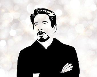Robert Downey Jr. sarcastic Silhouette, artist silhouettes, celebrity  silhouette, famous people