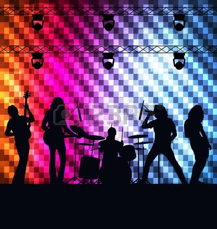 rock band: Rock band vector background with neon lights