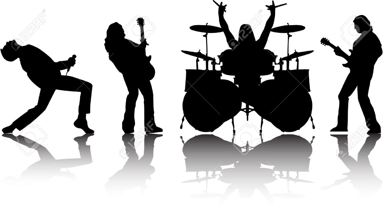 Rock Band Silhouette Clipart # .