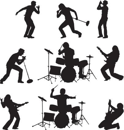 Rock band singing playing .