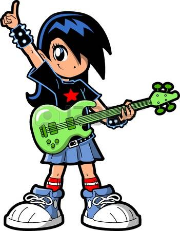 rock star: Anime Manga Girl Goth Emo Rock Star Guitar Bass Player Illustration