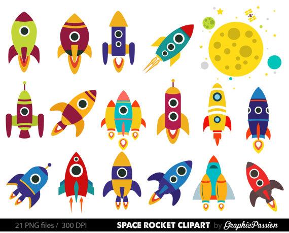 Retro Rockets Clip Art Clipart Spaceship by GraphicPassion on Etsy Retro  Rocket, Rocket Craft,