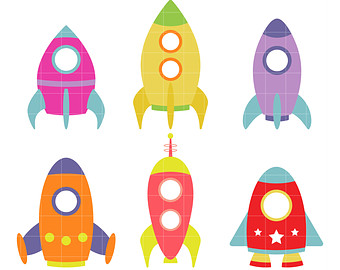 Rocket Ships Clip Art for Scrapbooking Card Making Cupcake Toppers Paper Crafts