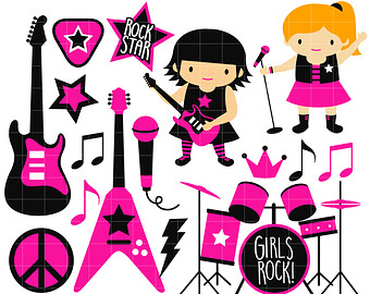 RockStar Girl Band Digital Clip Art for Scrapbooking Card Making Cupcake Toppers Paper Crafts