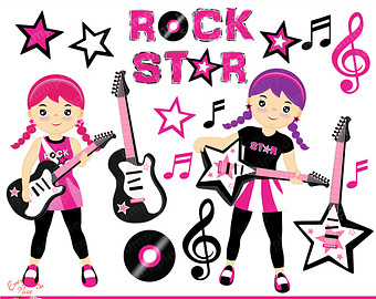 Rockstar Girls Clipart Set