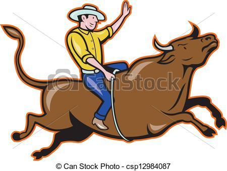 ... Rodeo Cowboy Bull Riding Cartoon - Illustration of rodeo.