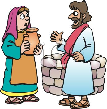 Royalty Free Clip Art Image Biblical Man And Woman Speaking By A Well
