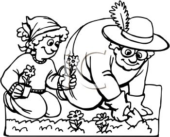 Royalty Free Clip Art Image: Black and White Cartoon of a Girl Helping Her Grandma in the Garden