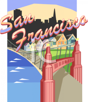 Royalty Free Clip Art Image: Tourism in the United States-San Francisco