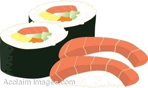 Royalty Free Clipart Illustration of Sake (Salmon) Sushi and Futomaki (finger Roll)