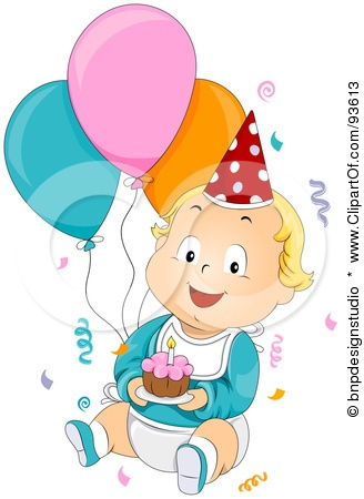 Royalty-Free (RF) Clipart Illustration of a Baby Birthday Boy With Confetti,